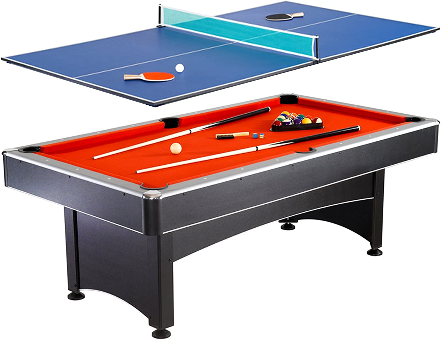 Amazon Com Hathaway Maverick 7 Foot Pool And Table Tennis Multi Game With Red Felt And Blue Table Tennis Surface Includes Cues Paddles And Balls Tabletop Table Tennis Games Sports Outdoors