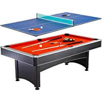 NG1023 7' Pool Table with Table Tennis Featuring an Easy Assembly and Includes Cues Net Post 2 Paddles and Tennis Balls