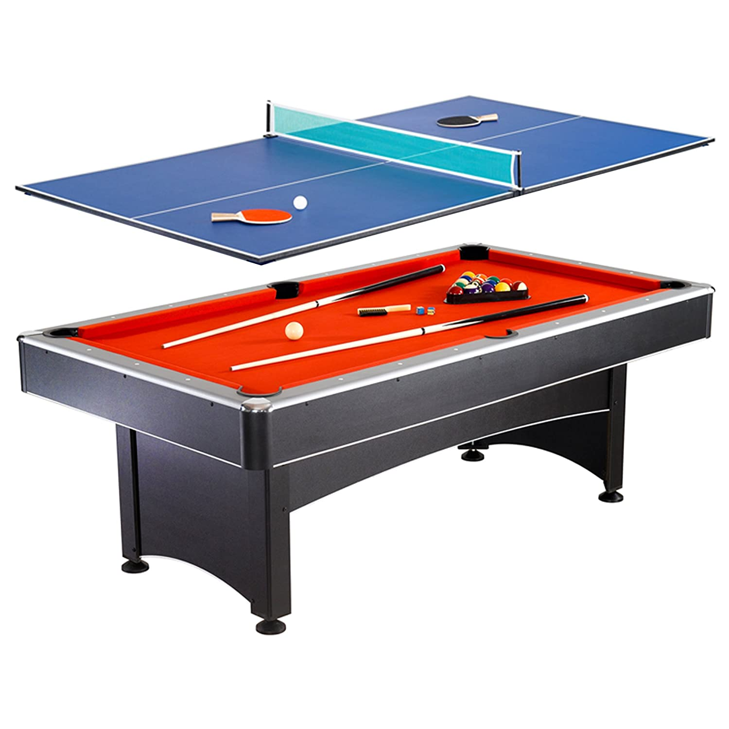 Hathaway Maverick 7 Foot Pool And Table Tennis Multi Game With Red Felt And  Blue
