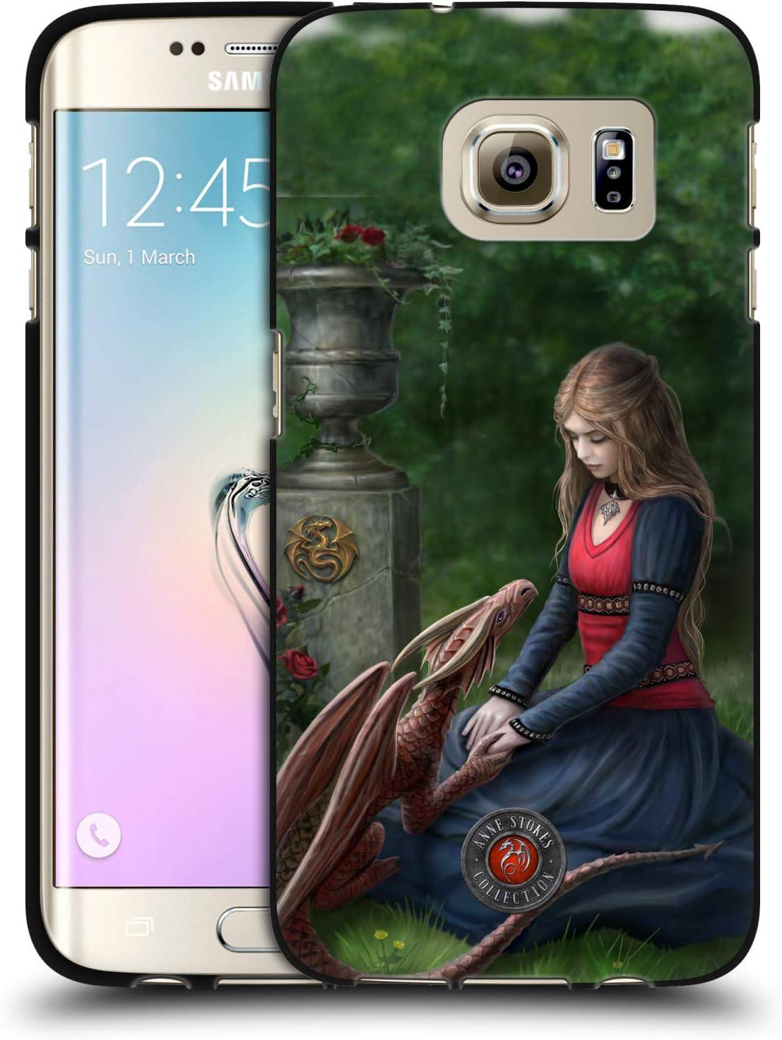 Head Case Designs Officially Licensed Anne Stokes Secret Garden Dragon Friendship Black Soft Gel Case Compatible with Samsung Galaxy S7 Edge