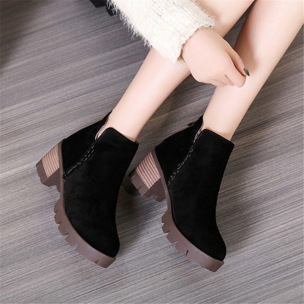 ZQ@QX und Herbst und ZQ@QX Winter runden Kopf wasserdicht Taiwan dick mit stilvollen Reißverschluss nach Studenten blanken Stiefel Damen Stiefel schwarz 457451