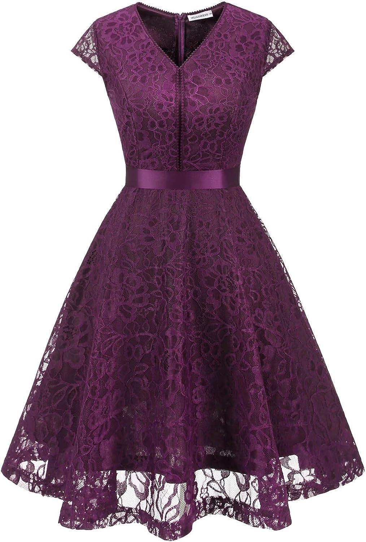 TALLA 3XL. MUADRESS Fashion Vestido Corto De Fiesta Elegante Mujer De Encaje Escote en V Estampado Flor Vestido Boda Cóctel Morado 3XL