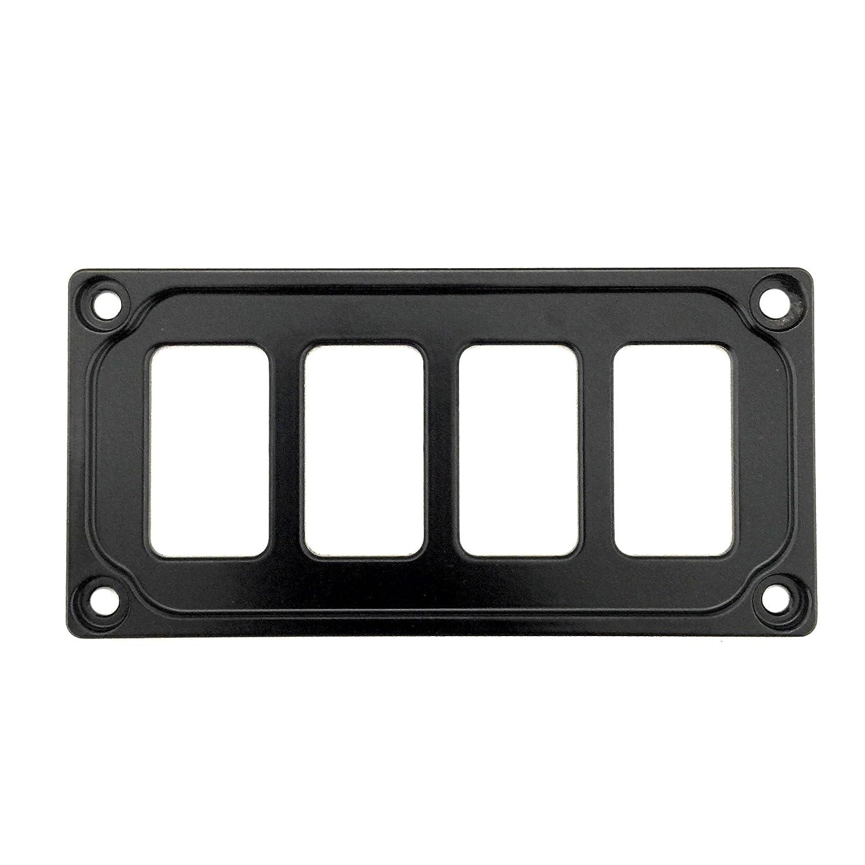 STV MOTORSPORTS Universal Switch Dash Panel Custom CNC Billet Aluminum 4 Rocker Switch Slots (Black)