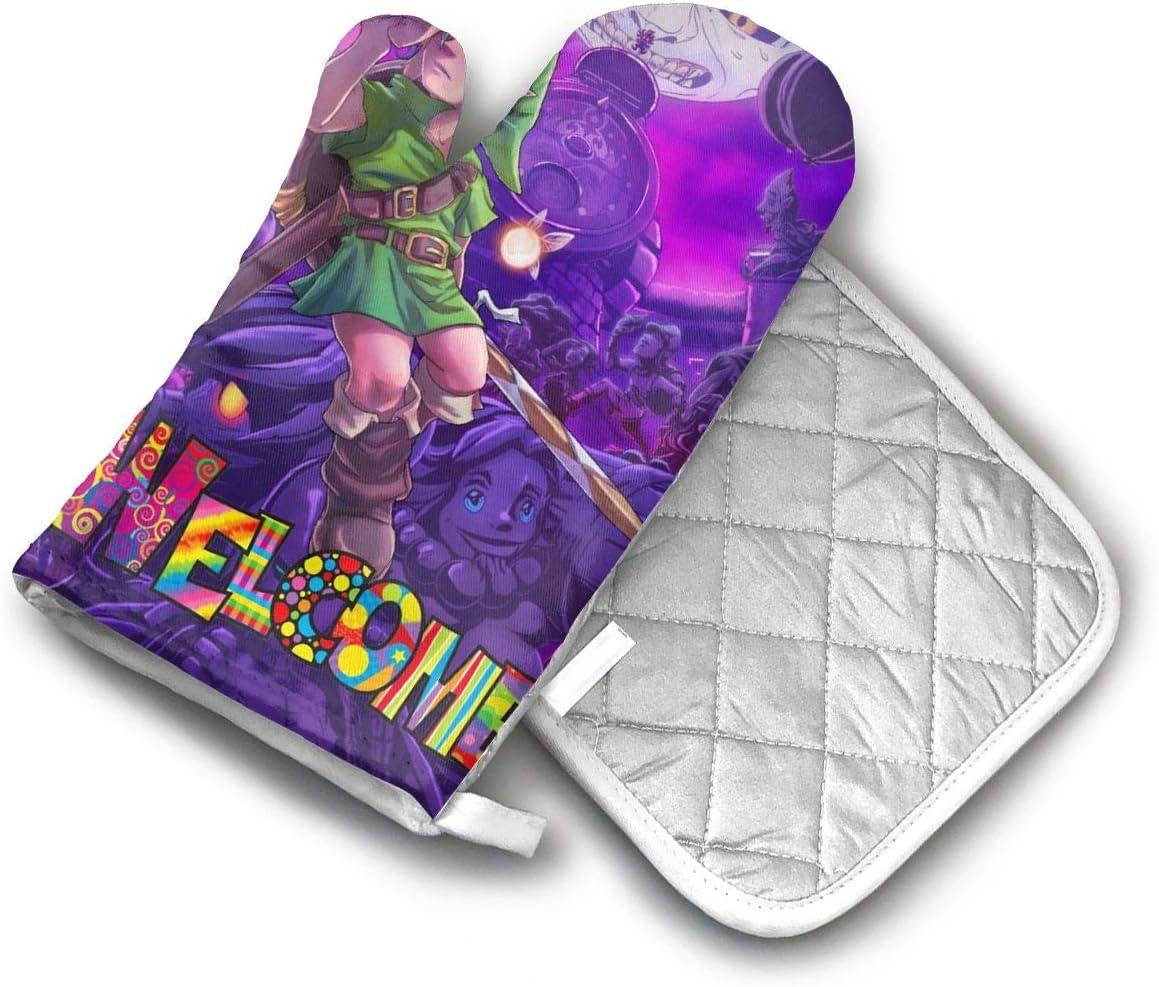 AISDHAJKSD Legend of Zelda Majoras Mask Art Premium Terylene/Nylon Oven Mitts and Pot Mat,Pot Mat/Hot Pads, Heat Resistant Gloves BBQ Kitchen