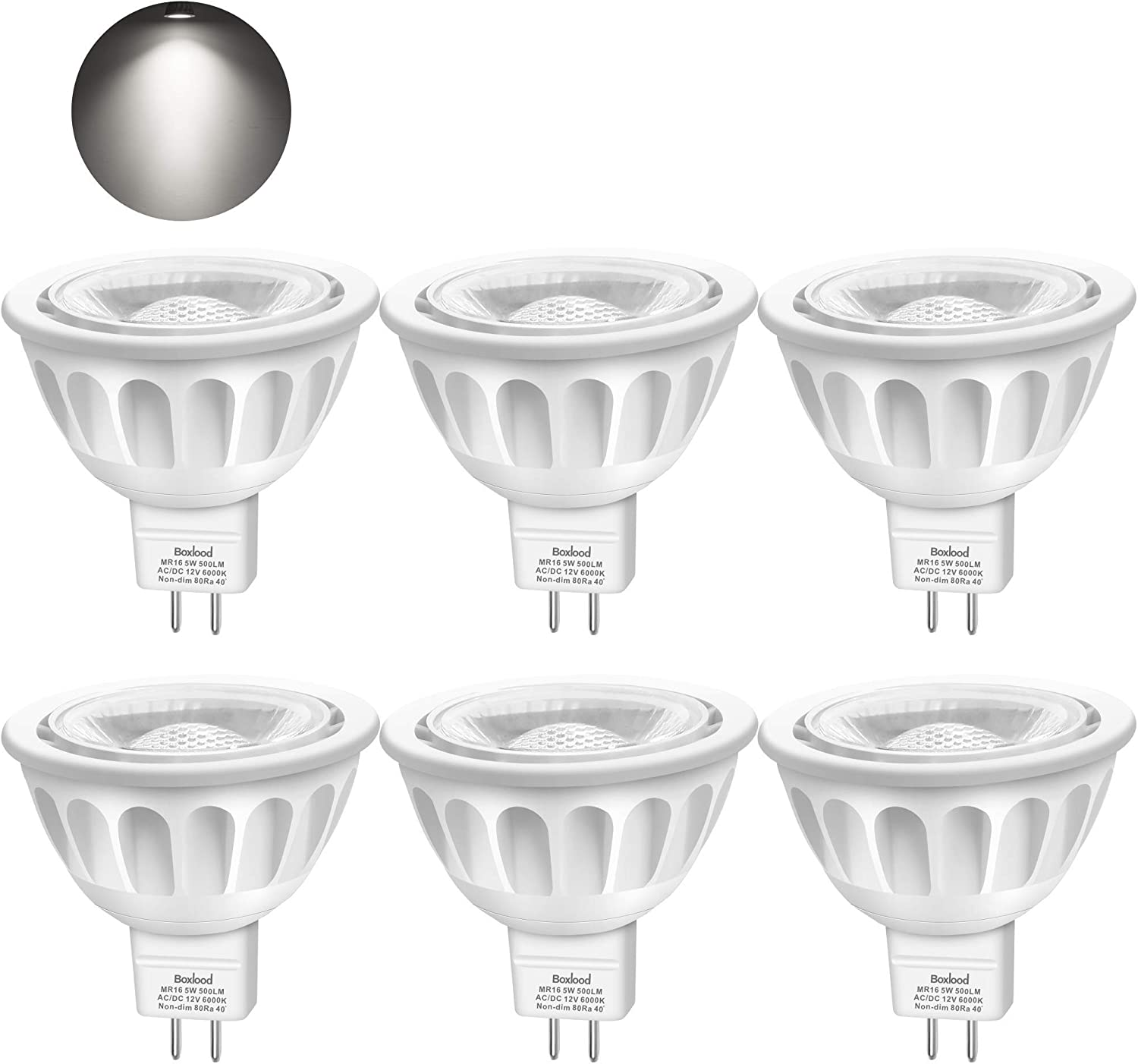 Bombillas LED GU5.3, Boxlood MR16 LED 5W Lámparas Halógenas Equivalentes a 50W, LED 12V MR16, Blanco Frío 6000K, Bombillas led 500LM, LED GU5.3 40°Luz, 6 Pack