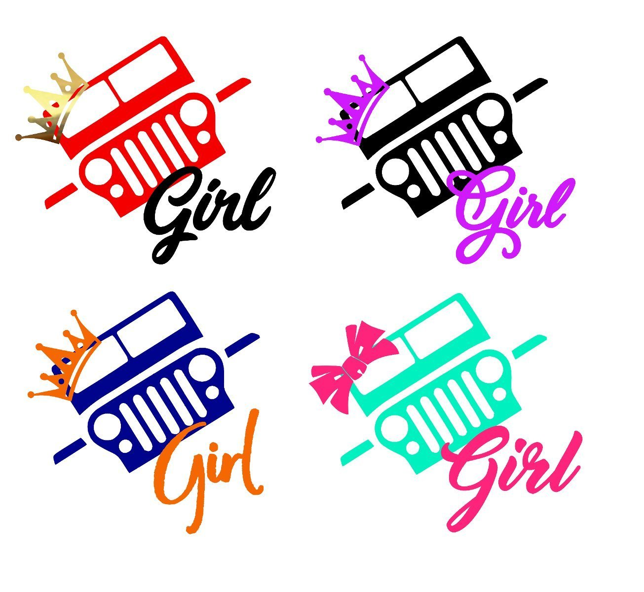 Amazon com custom jeep girl 4x4 decal sticker for laptop locker car yeti rtic ozark cooler tumbler or cup handmade