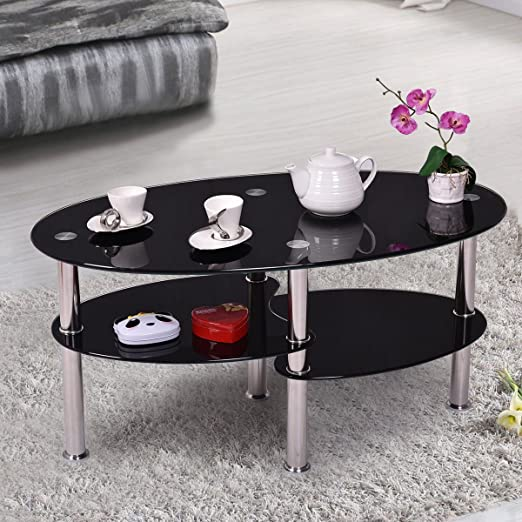 Euco Black Glass Coffee Table Oval Cara Modern Tempered Glass