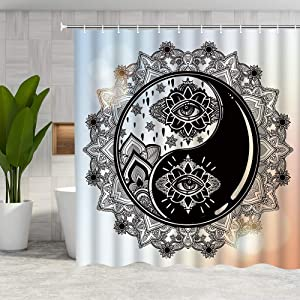 DMTTY Boho Chic Art Shower Curtain Black White Eye Sun Bathroom Decorations Bath Curtains 12PCS Hooks