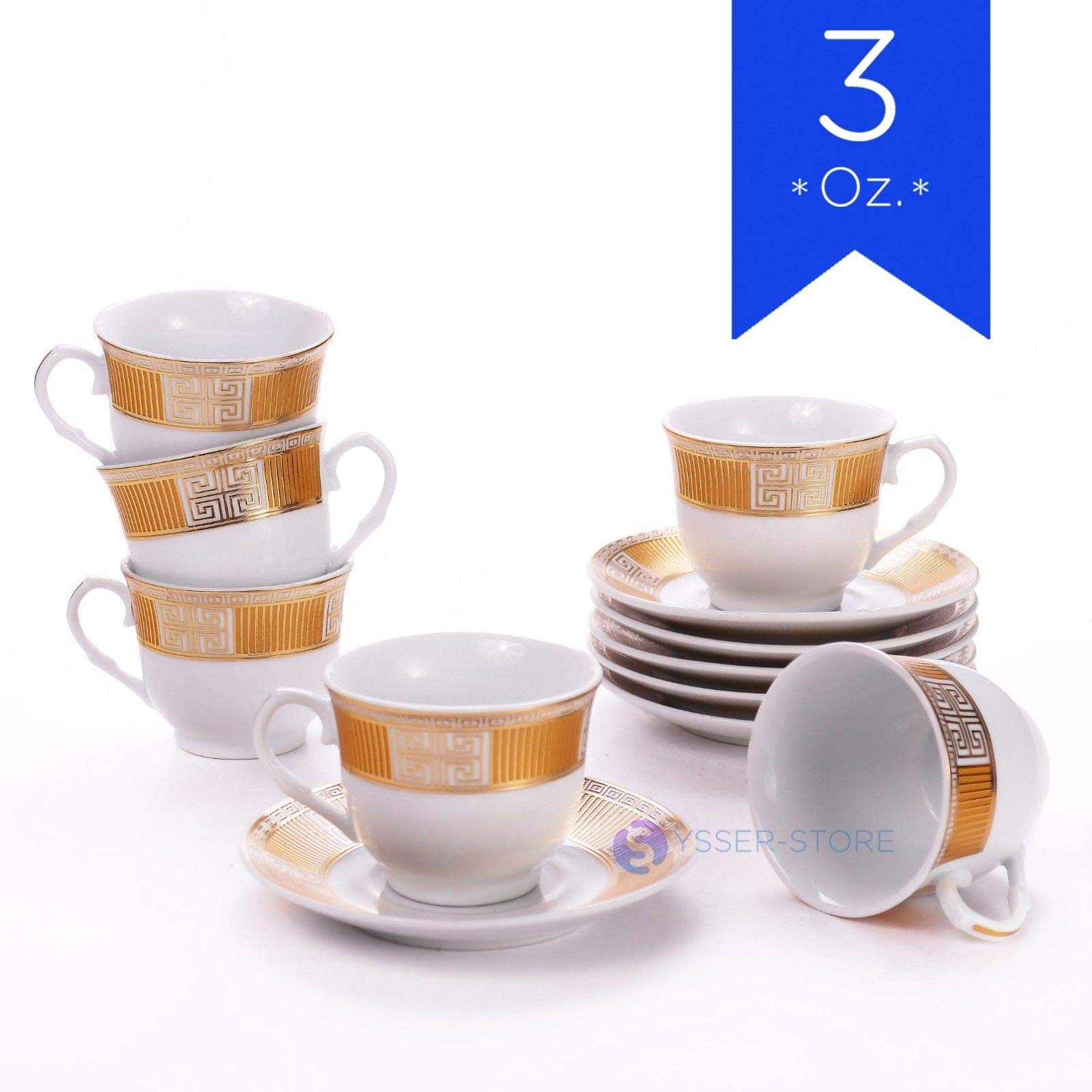 Tuweep Luxury Espresso Coffee Set 6 Cups 6 Saucers 3 oz White Porcelain in Gift Box New by Tuweep