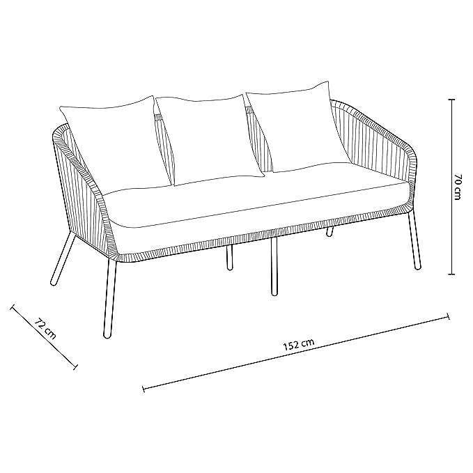 Adec - Melburne, Conjunto de una Mesa de café, un sofá Tres plazas y Dos butacas, Acabado en Color Gris Antracita, Medidas del sofá: 152 cm (Largo) x ...