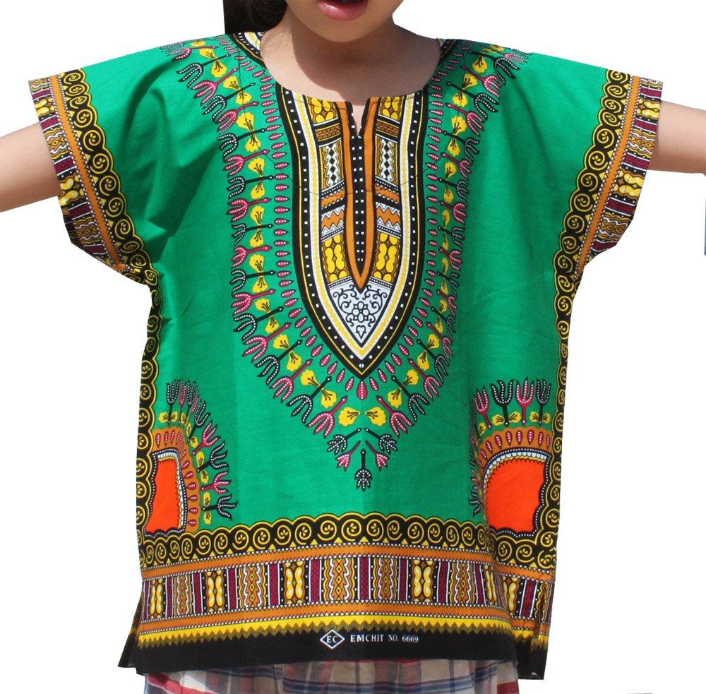 RaanPahMuang Unisex Bright Africa Colour Children Dashiki Cotton Shirt, 3-6 Years Tall, Forest Green
