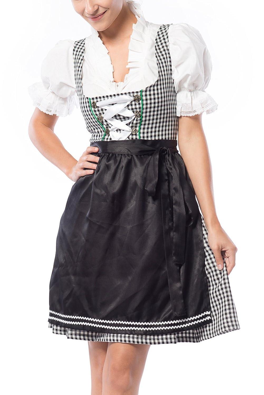 Partychimp Damen Dirndl Birgit Schwarz/Weiß mit einer Bluße und Schürze, größe 36-46