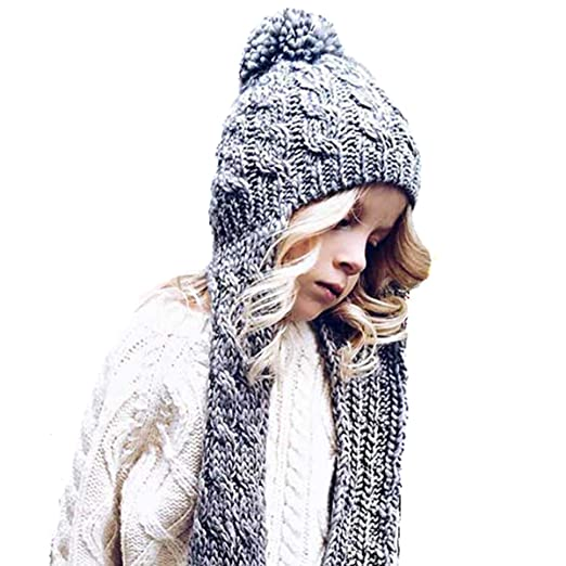 512012aa22b Amazon.com  Neon Eaters Cute Girls Scarf Winter Hat - Gray - Ski ...