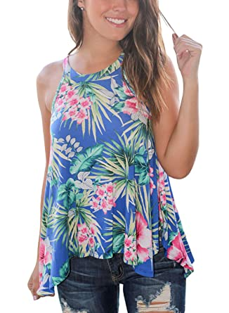d15a7606594e82 Astylish Women Casual Floral Print Racer High Neck Sleeveless Blouse Tank  Tops Blue XX-Large at Amazon Women s Clothing store