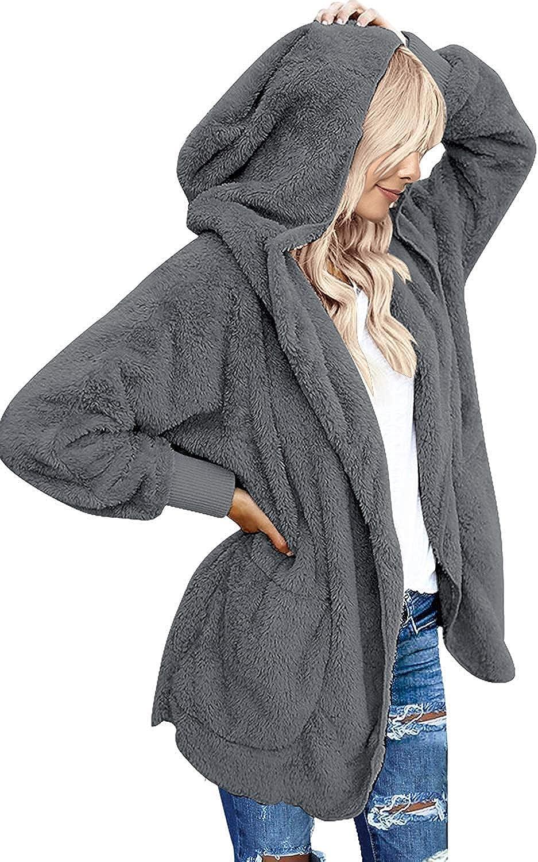Yanekop Womens Fuzzy Fleece Open Front Hooded Cardigan Jackets Sherpa Coat with Pockets