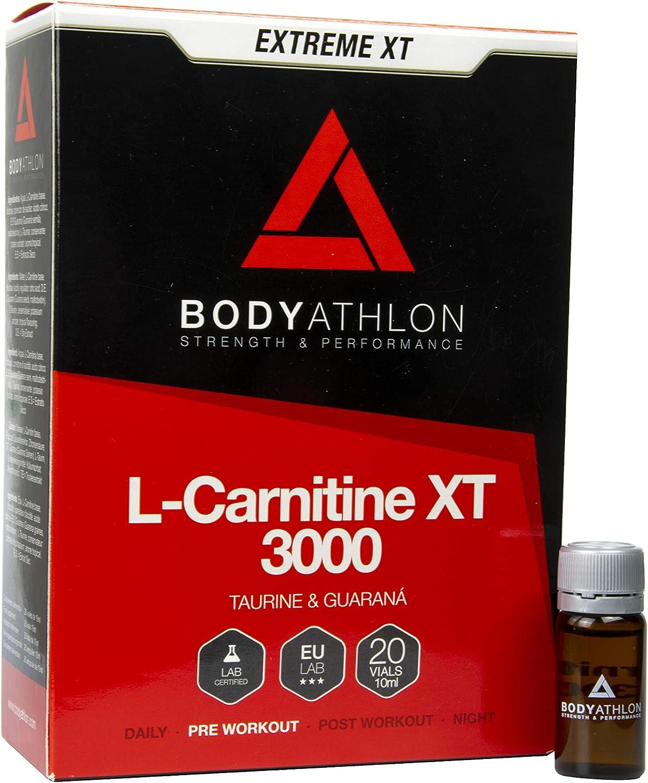 Bodyathlon - L Carnitina 3000 Líquida Extreme XT - Con Taurina y Guaraná - Suplemento Deportivo – Quemagrasas - 20 Viales Sabor Tropical