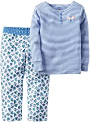 Carters Girl 2-pc. Striped Henley & Floral Pants Pajama Set; Blue (