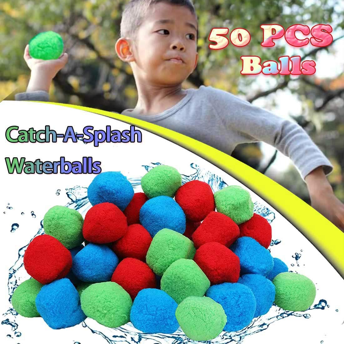 MLOLM 50 Highly Absorbent Cotton Splash Balls,Reusable Outdoor & Pool Water Activities for K-i-ds
