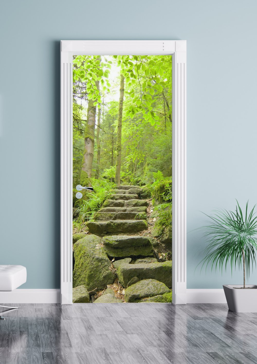Forest Walk Premium Door Mural Sticker - Matte Vinyl Self Adhesive Reusable WallArt