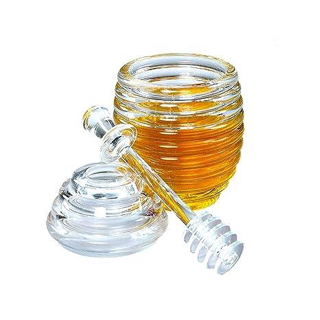 LINGREAL Tarro de Miel con cucharón, Colmena de Cristal Transparente Recipiente de Miel en Maceta