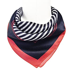 Wrapables 100% Silk Neckerchief Square Scarf, Sailor Stripes Navy
