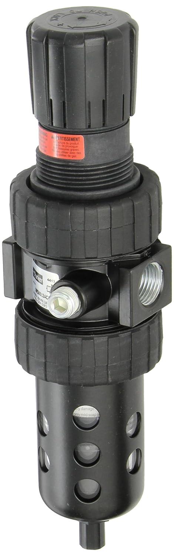 Polycarbonate with Metal Bowl Guard Parker 06E36B13AC1  One Piece Filter//Regulator Relieving Type without Gauge 1//2 BSPP Parker Hannifin 5 micron Auto Float Drain 61 scfm 1//2 BSPP 2-125 psig Pressure Range