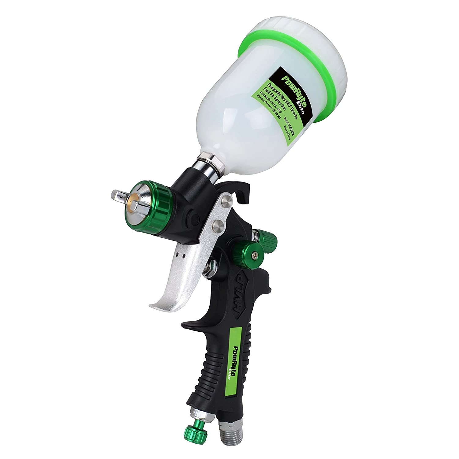 PowRyte Elite 4.2 Oz Composite Mini HVLP Gravity Feed Air Spray Gun - 0.8mm Nozzle