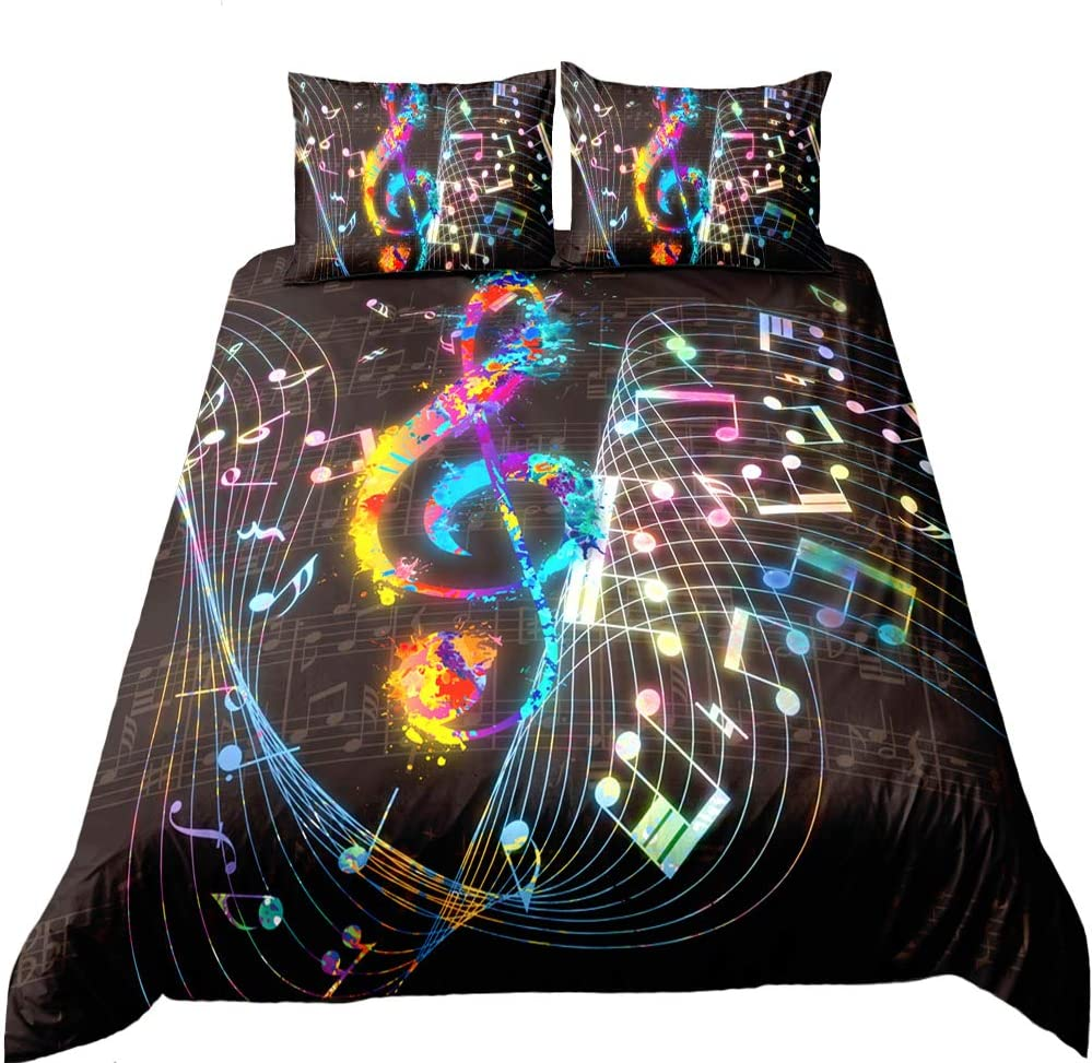 Suncloris, Colorful Music Note Duvet Cover Set, Treble Clef Colorful Home Textiles Kids Bedding Set. Included: 1 Duvet Cover, 2 Pillowcase(no Comforter Inside) (Full)