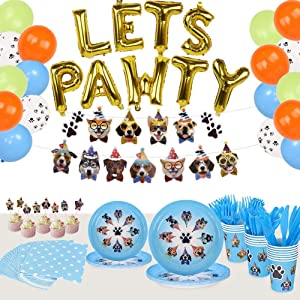 168 Pcs Dog Party Supplies Set Tableware Kit, Dog Birthday Banner Cupcake Toppers, Disposable Plates Cups Cutlery Napkins Balloons for Paw Puppy Kids Birthday Baby Shower Decor- Serves 16