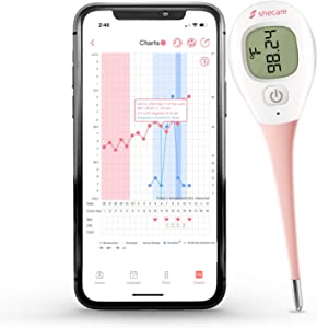 Shecare Digital Basal Body Thermometer for Ovulation,Fertility BBT Thermometer High Precision Oral Thermometer,Accurate 1/100th Degree Works with Shecare APP Basal Thermometer Basic Thermometer