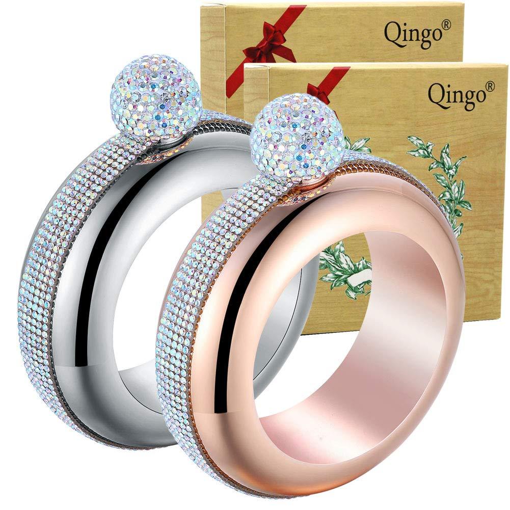 Qingo Bracelet Flask Bangle Creative Stainless 304 Steeland Hip Funnel Set for women 3.5 oz. 2 pcs Crystal Surround (Sliver+Rose Red Crystal Surround) (Sliver+Rose Red) by Qingo