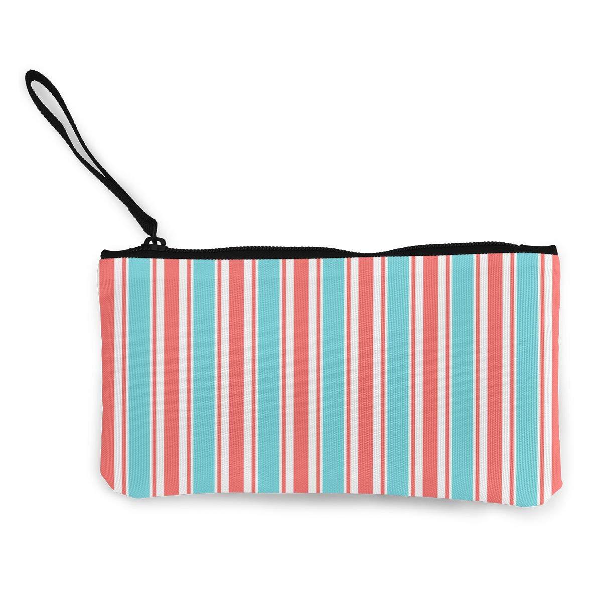 Canvas Cash Coin Purse,Fresh Stripes Print Make Up Bag Zipper Small Purse Wallets