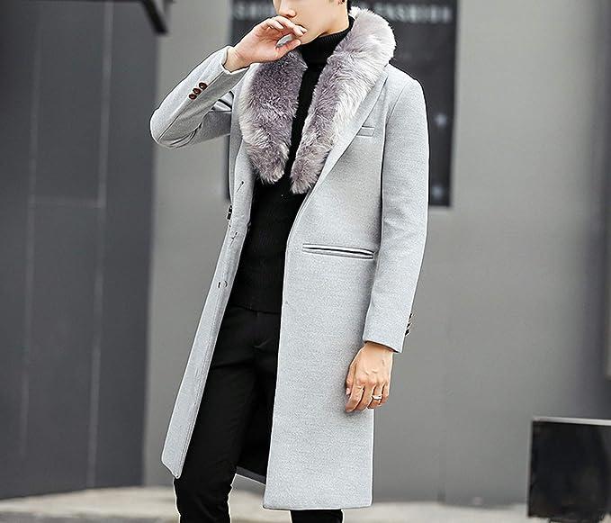 Amazon.com: Easy- Love 2018 Coat Warm Outwear Slim Coat Men Long Winter Trench Coat: Clothing