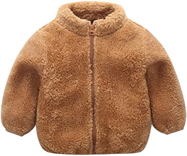 Sunbona Baby Boys Girls Thick Fleece Jacket Coats Unisex Toddler Winter Solid Long Sleeve Warm Zip Outwear Tops Outfit