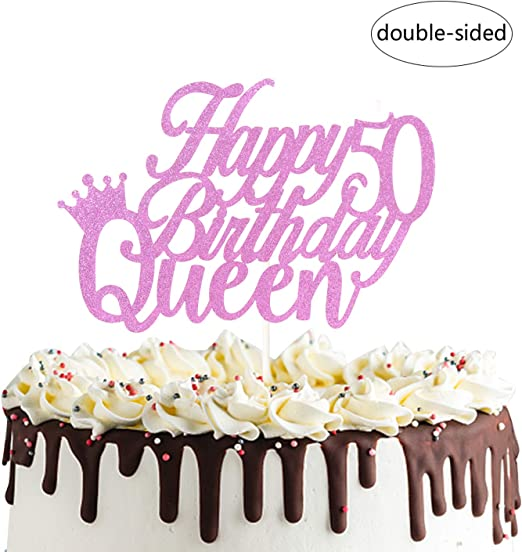 Miraculous Amazon Com Happy 50Th Queen Birthday Cake Topper Cheers To 50 Funny Birthday Cards Online Barepcheapnameinfo