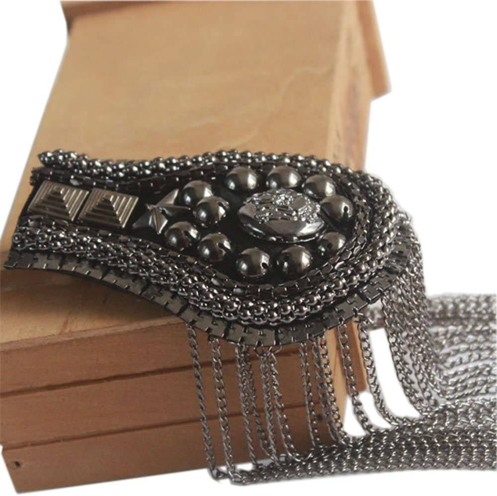 Gold 2 pcs Long Tassel Vintage Epaulet Handmade Chain Shoulder Brooch Unisex for Ceremony Performance