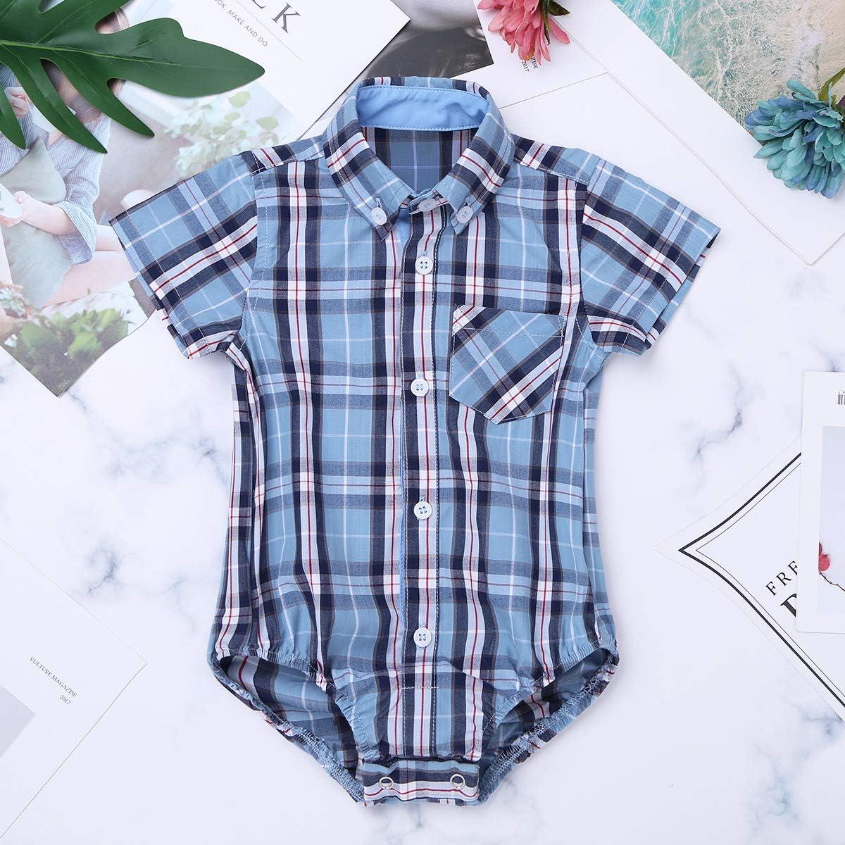 Freebily Baby Boys Girls Short Sleeve Collar Plaid Shirt Bodysuit Button Down Shirt Tops Blouse