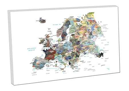Print paint canvas art easy hang map europe cities european print paint canvas art easy hang map europe cities european countries world whte 24x16 inch gumiabroncs Choice Image