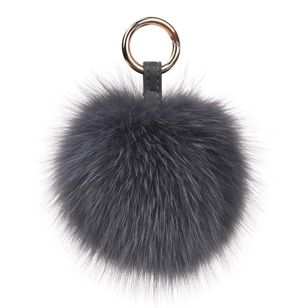 Deep Grey Genuine Fox Fur Pom Pom Keychain Bag Purse Charm large Fluffy Fur Ball Keychains