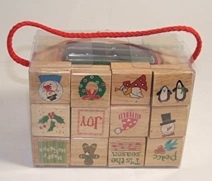 Amazon Com Michaels 30 Piece Holiday Cheer Rubber Stamp Set