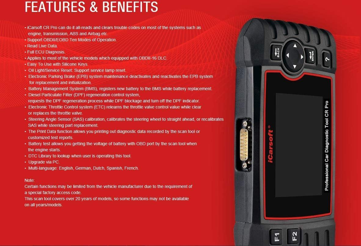 airbag Trasmissione del Motore Batteria Tester ABS Trouble Codici Leggere e Trasparente iCarsoft CR PRO Professional Multi-System multimarca Auto Strumento diagnostico Scanner incl
