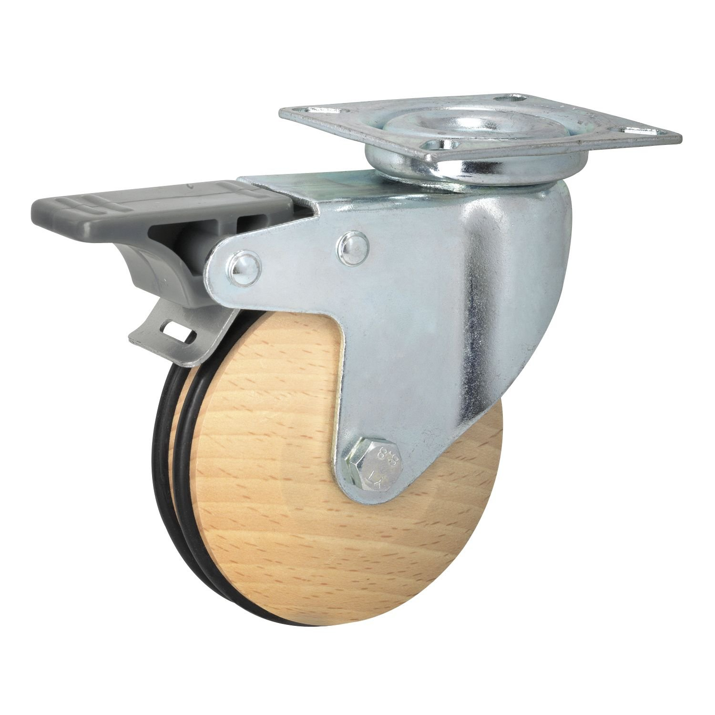 Helmer 771212 Lenkrolle GEO Holz /ø 75 mm D/örner Bauh/öhe 101 mm Buche ged/ämpft mit Bremse