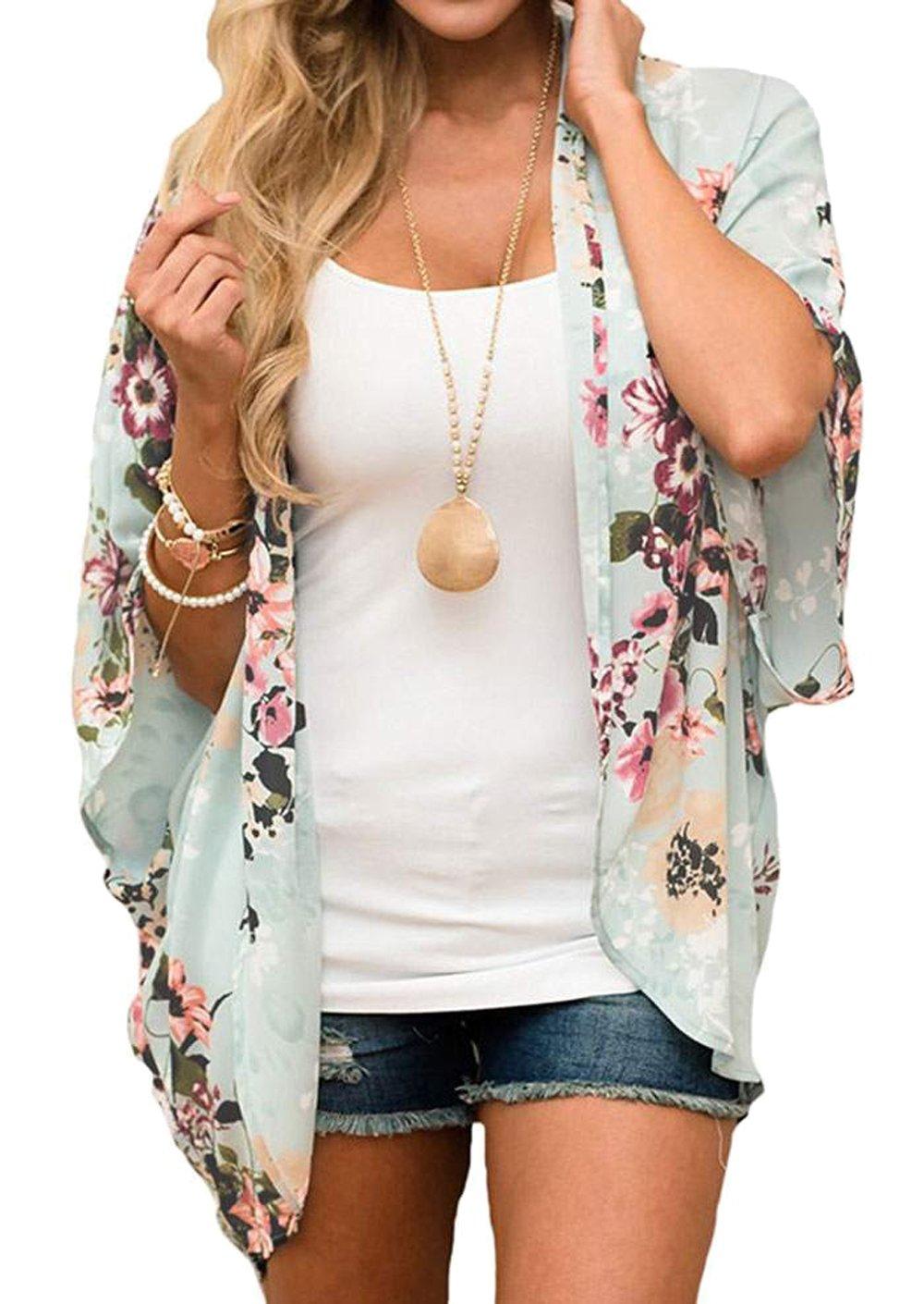 Relipop Women's Sheer Chiffon Blouse Loose Tops Kimono Floral Print Cardigan (XX-Large, Style 33)