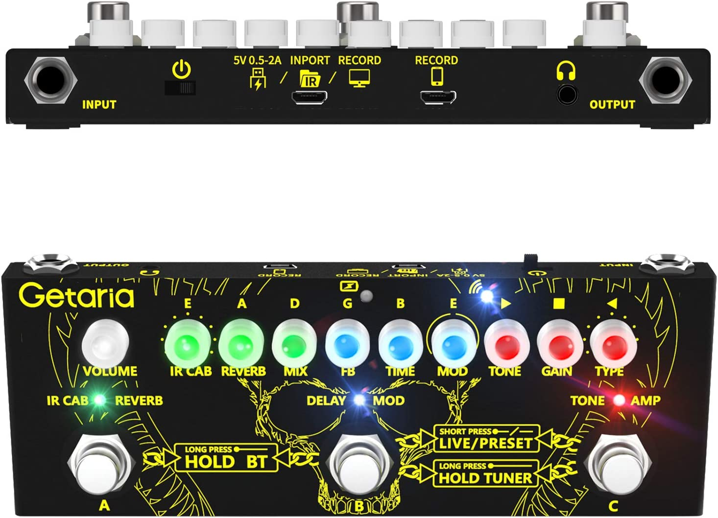Getaria Guitar Multi-Functional Effect Pedal Routing IR Loader Guitar Combined Effects Pedal with Overdrive Distortion Delay Reverb Modulation Effects Pedal