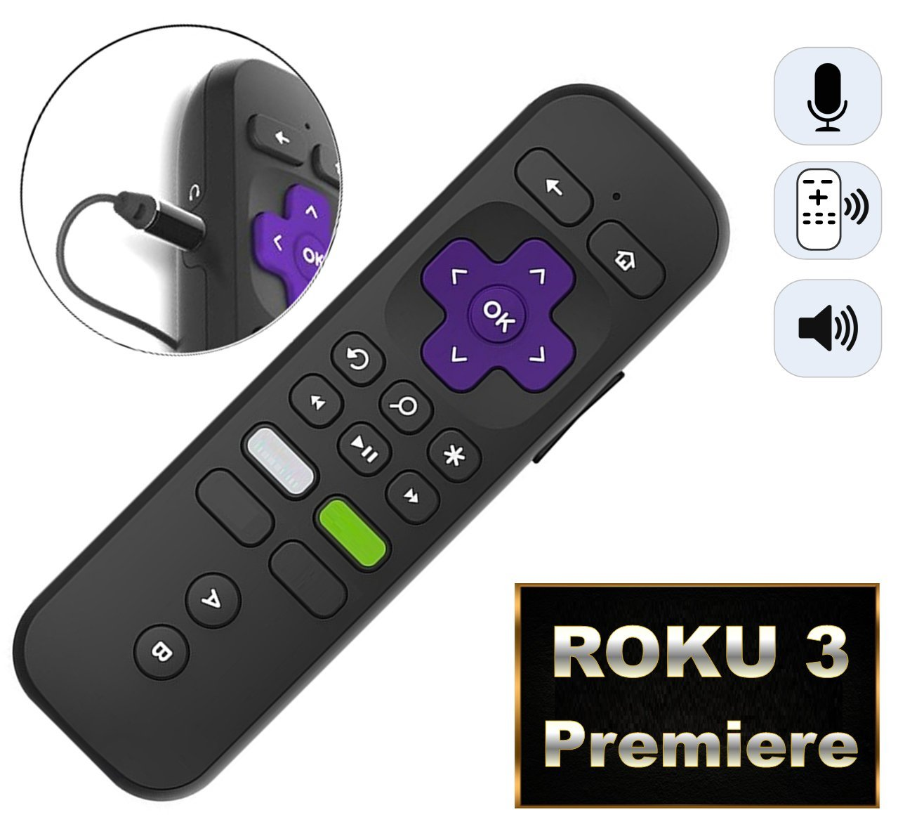 Replacement Enhanced Voice Remote with Headphone Jack Voice Control for Roku 3/ Roku 4/Roku Premiere/Ultra, Compatible with 2015 Newer Model Roku Stick [No TV Power Button] by IKU