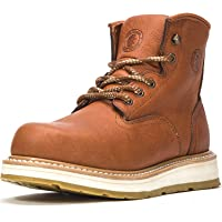 ROCKROOSTER Men's Work Boots, 6 Inch Soft Toe Boot, Wedge Sole, Arch Support Anti-Fatigue Shoes, Water Resistant Leather Safety Boots, AP615