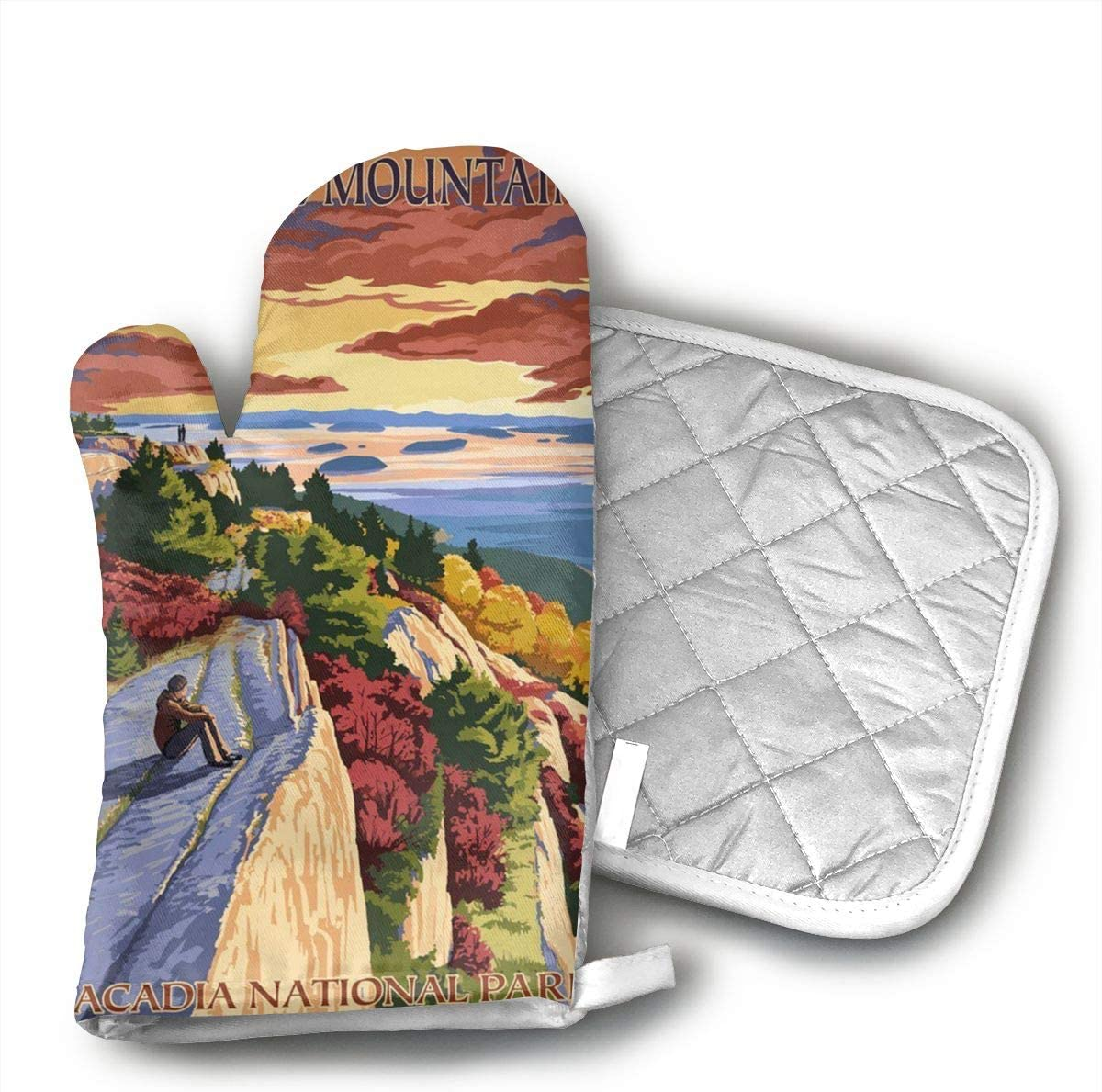 Klasl5 Acadia National Park, Maine - Cadillac Mountain Oven Mitts,Heat Resistant Oven Gloves,Non-Slip Cooking Gloves,Washable Kitchen Mitts for Baking, Barbecue.