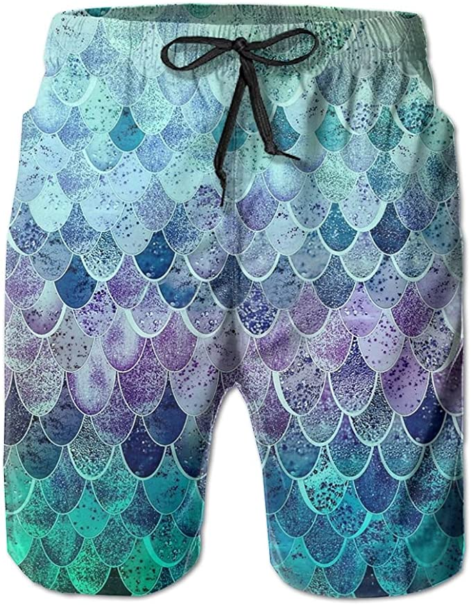 Men/'s Summer Beach Trunks Glitter Fish Scale Drawstring Elastic Waist Quick Drying Swimming Beach Board Shorts