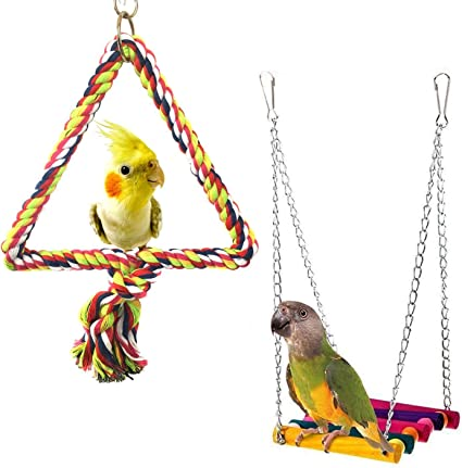 Parrot Toys Bird Chew Toy Wood Big Rope Cave Ladder Toy L