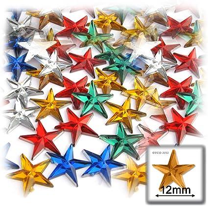 500 Acrílico color mezclado flatback Facetado Star joyas rhinestone 10 Mm